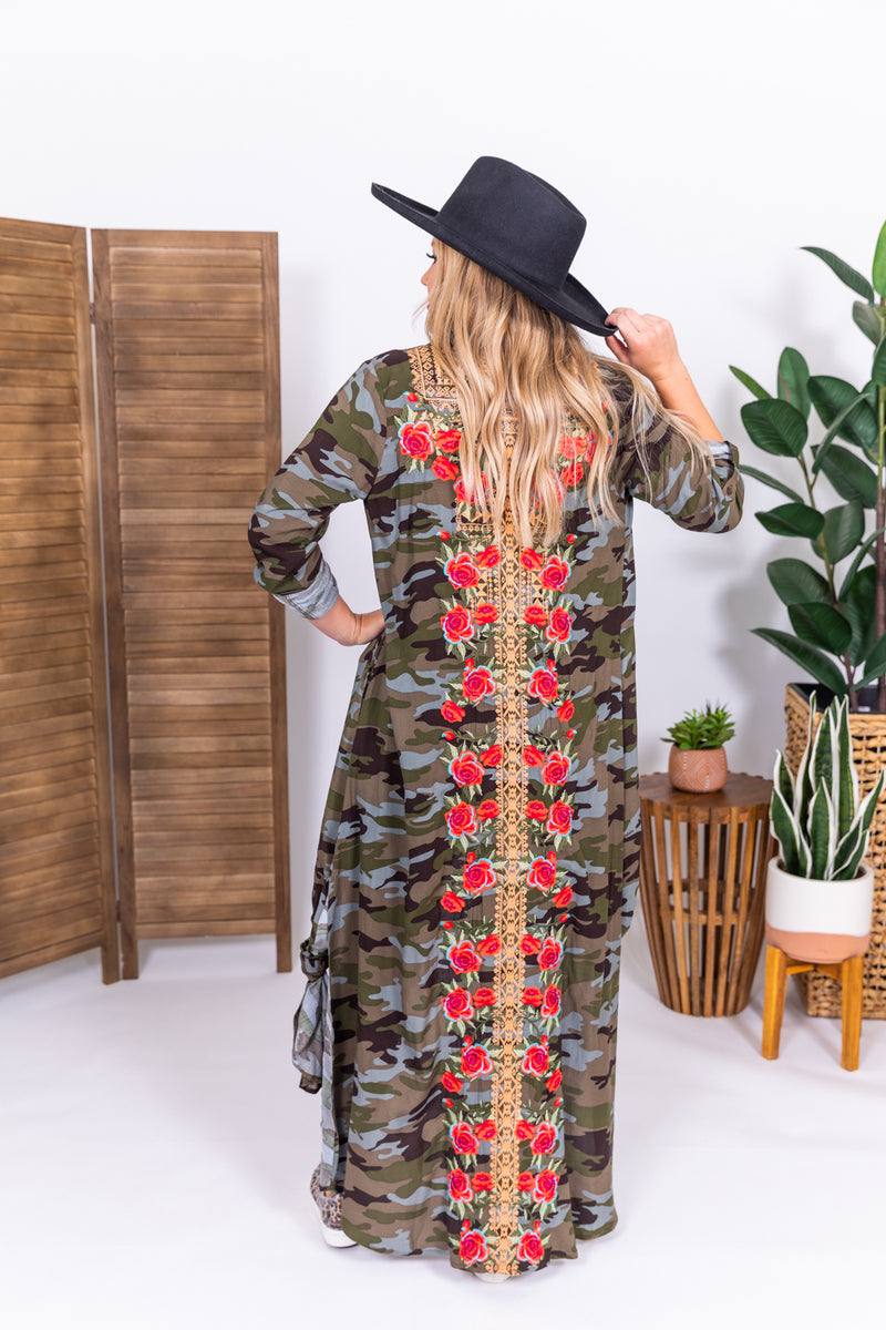 She's A Wild One Camo Embroidered Button Up Duster Dress