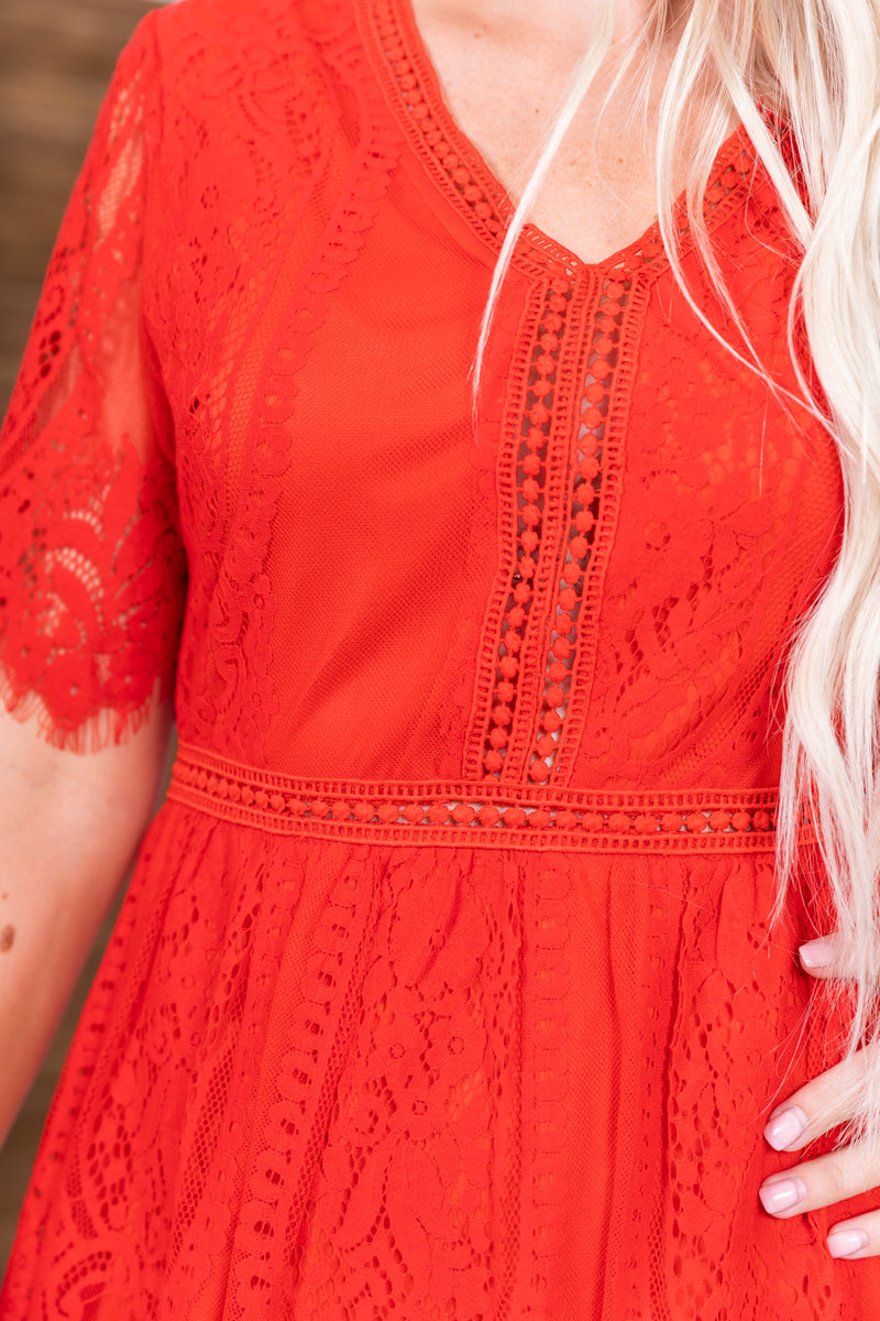 Candy Apple Lace Zip Up Midi Dress