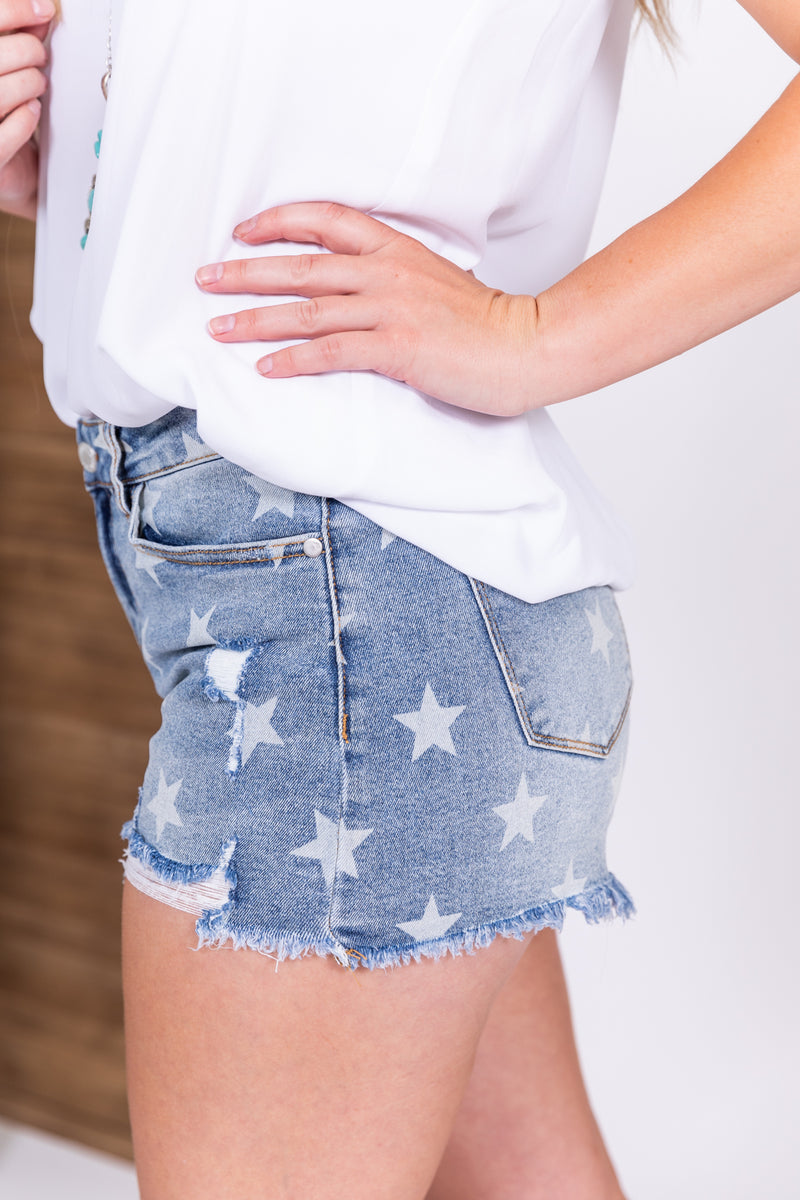 Judy Blue Star Spangled Denim Shorts