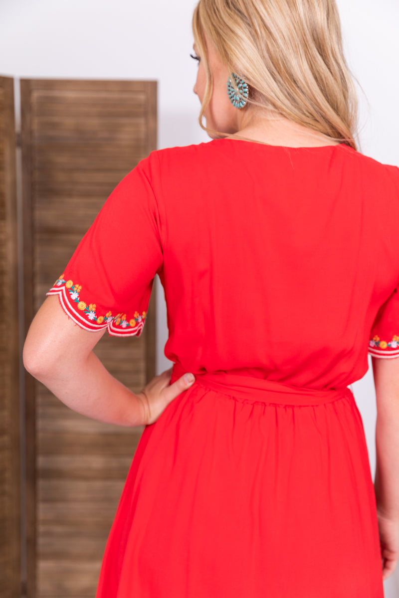 Red Embroidered Babydoll Dress