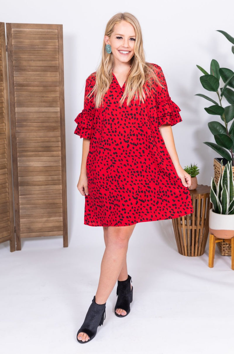 She Means Business Red Midi Dress