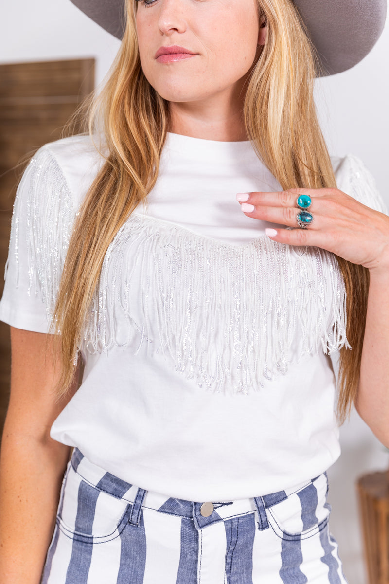 The Dolly Sequin Fringe Top