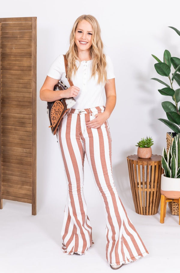 Rust Out West Folsom Vintage Striped Denim Bell Bottoms