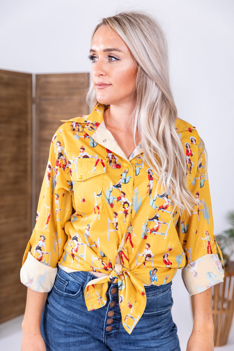 Cowgirl Up Western Pearl Snap Top