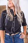 Midnight Vintage Cowgirl Pearl Snap Top