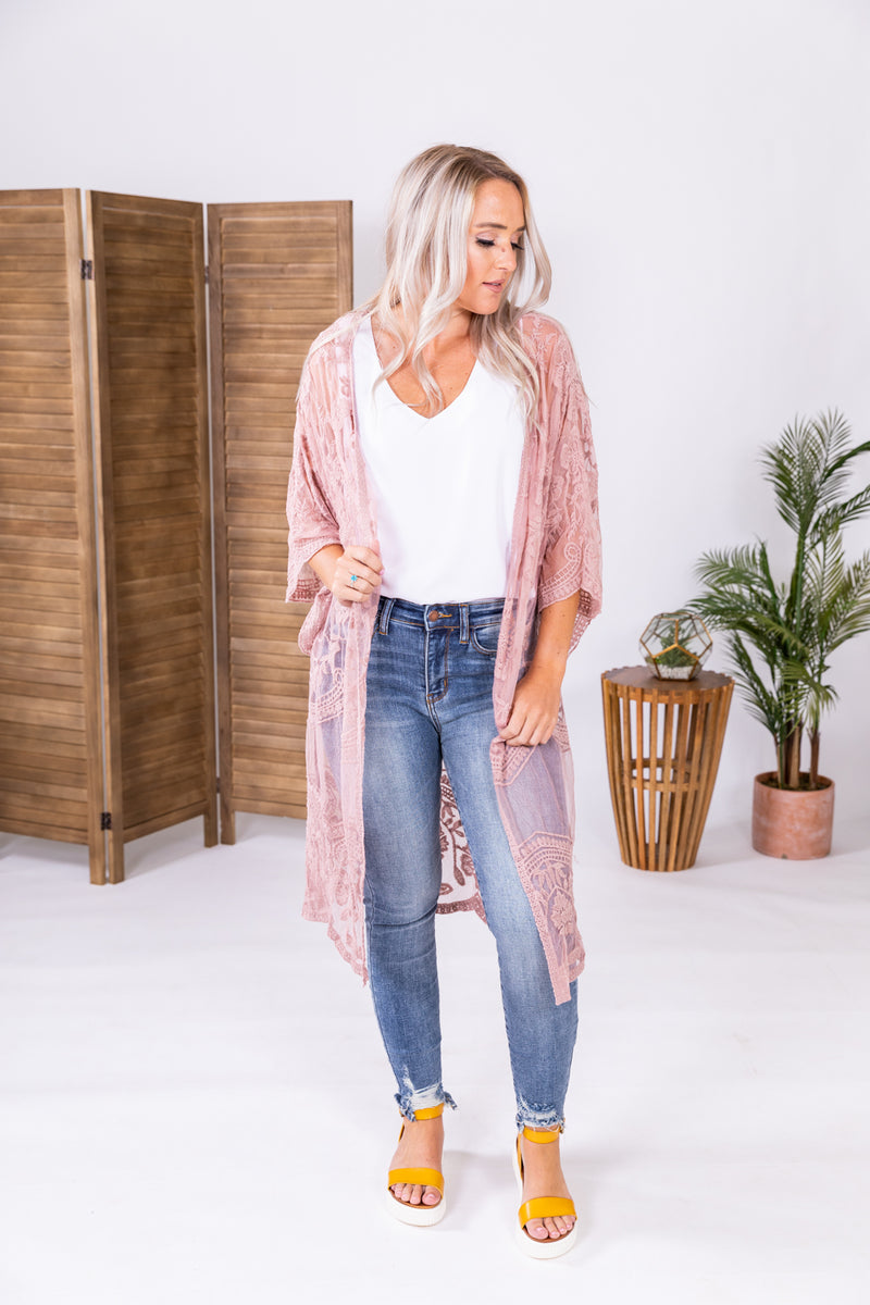 Baby Pink All Laced Up Duster