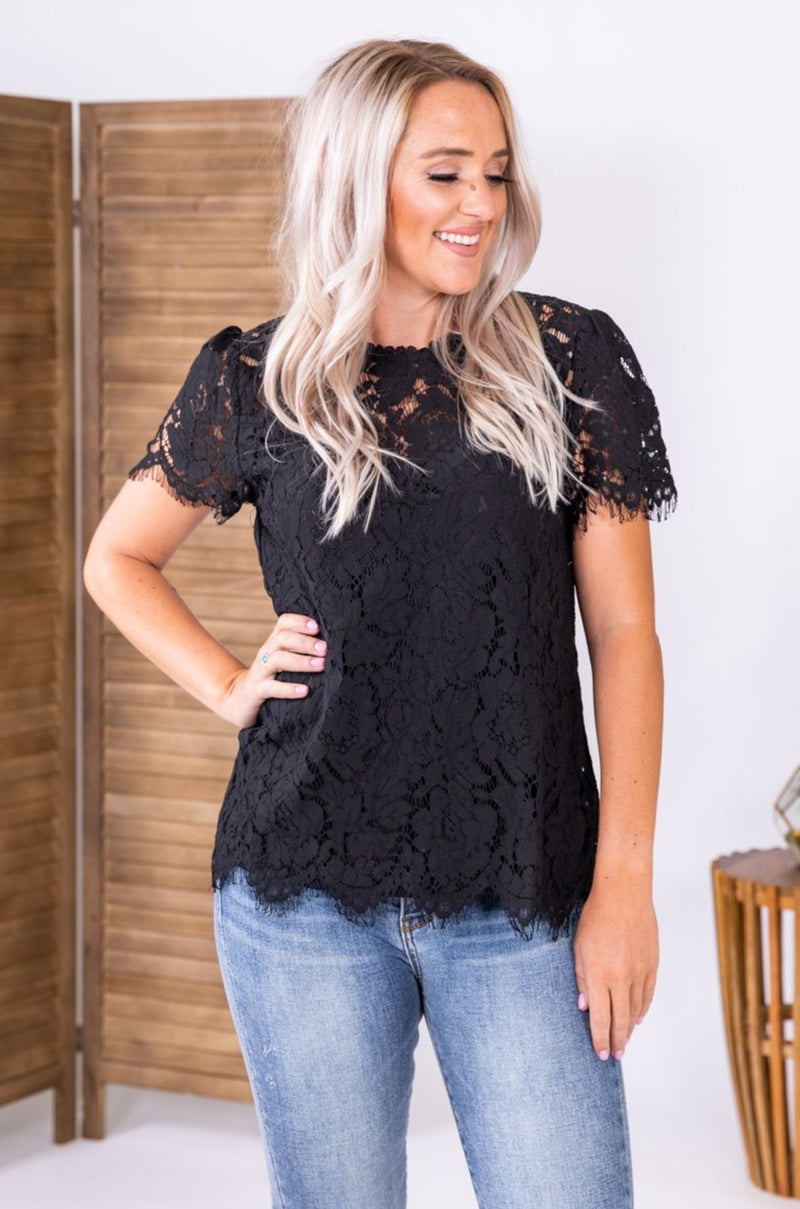 Lovely In Black Lace Top