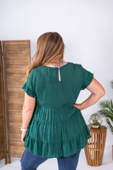 Hunter Green Baby Doll Top