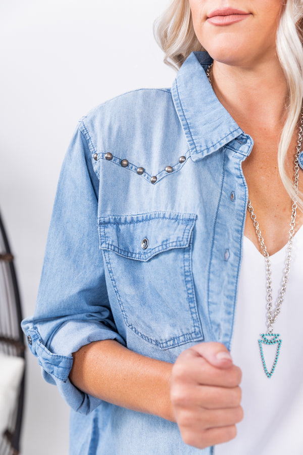 Light Wash Studded Boyfriend Button Up Denim Jean Top
