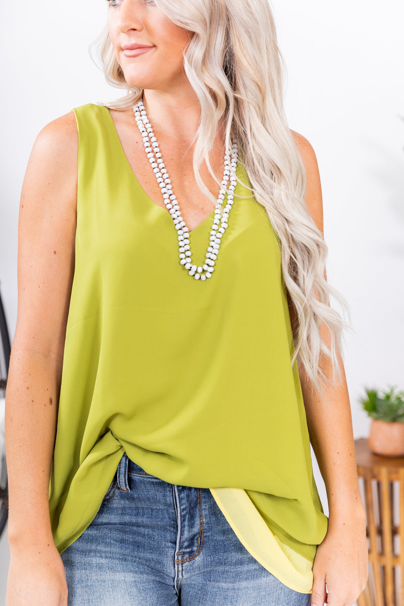 Lime Green Layers Tank Top