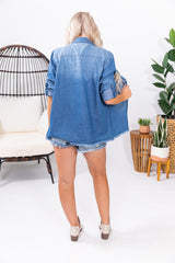 Mid Wash Studded Boyfriend Button Up Denim Jean Top