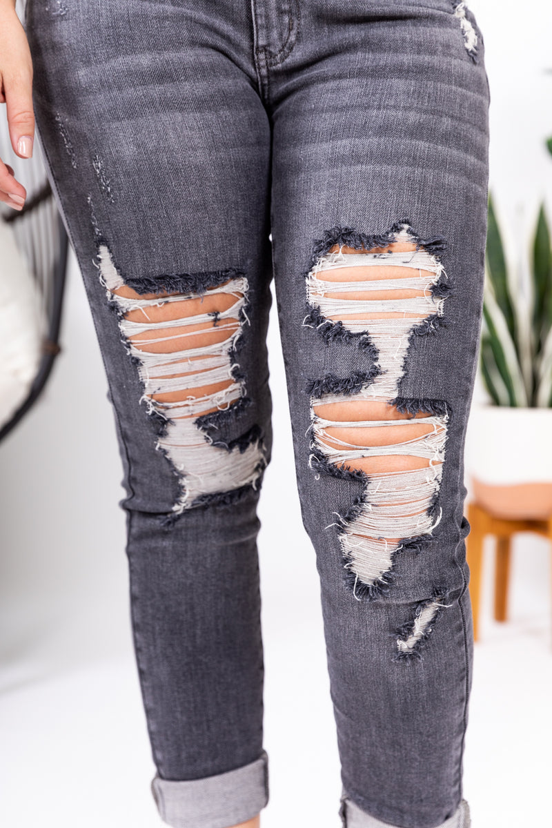 Grey Mid Rise Destroyed Denim Judy Blue Skinny Jeans