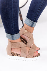 Taupe And Leopard Platform Sandals