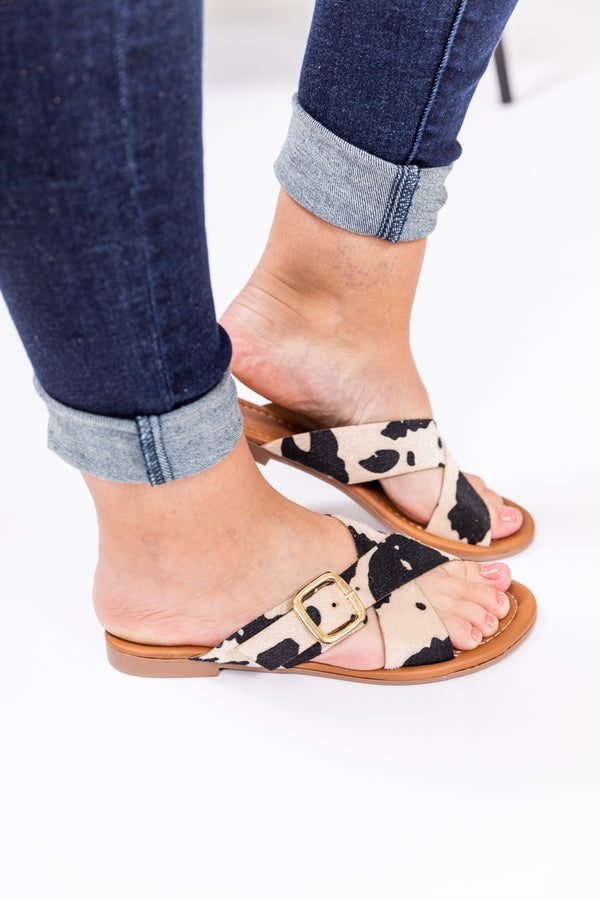 Cowhide Gold Buckle Summer Sandal