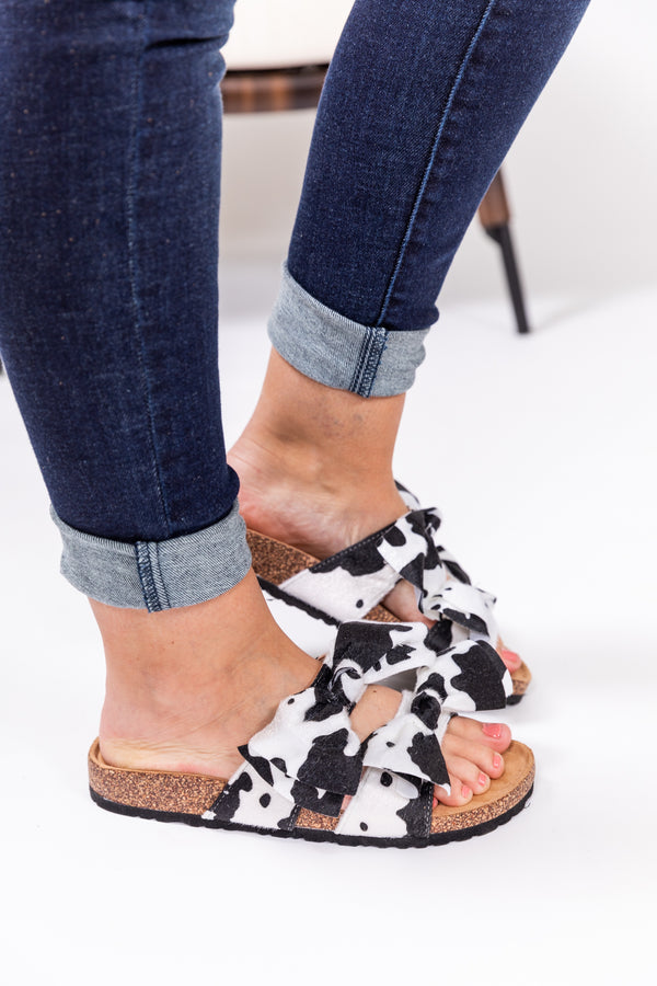 Cowhide Double Up Bow Sandals