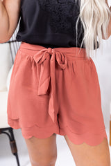Marsala Layered Scalloped Shorts