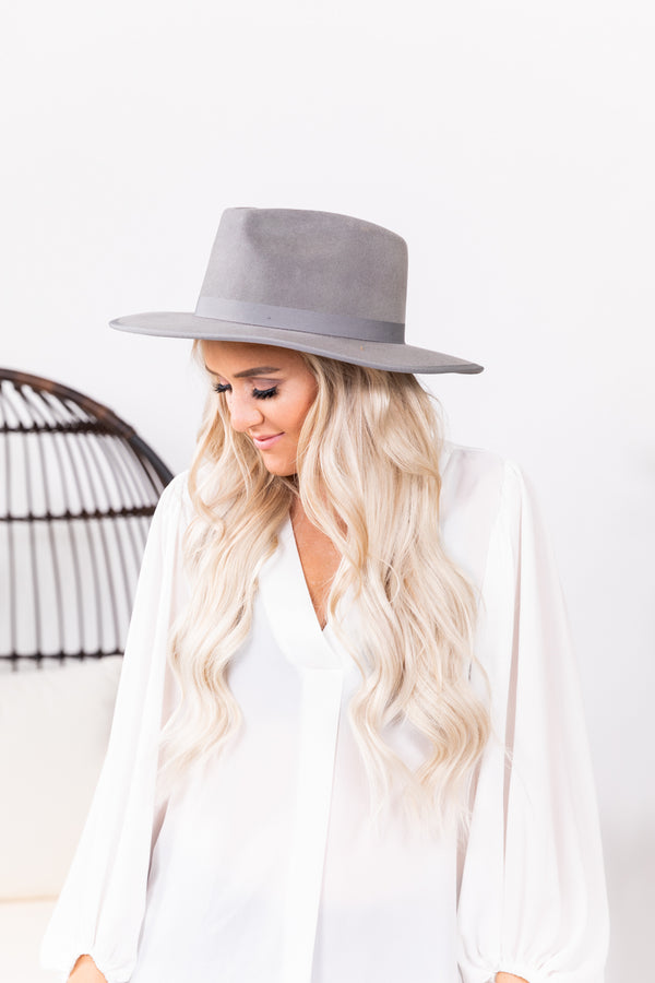 Betty Flat Brim Grey Wool Hat