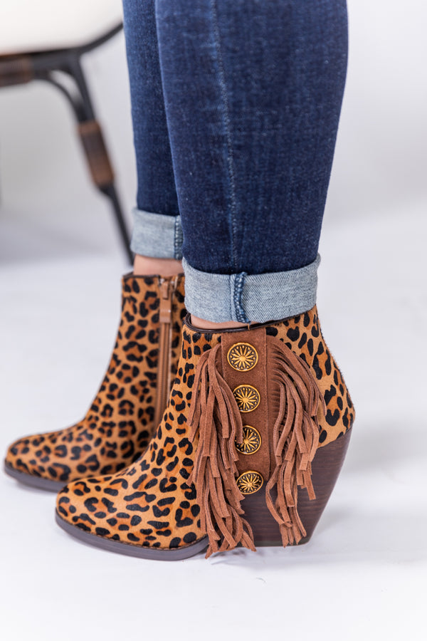 Spotted In Concho Wedge Booties