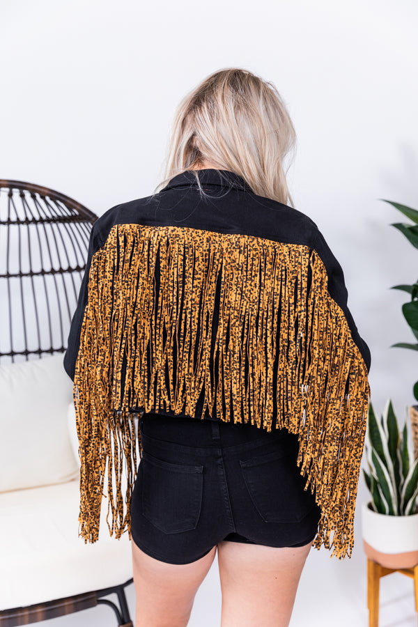 Leopard Fringe Cropped Midnight Denim Jacket