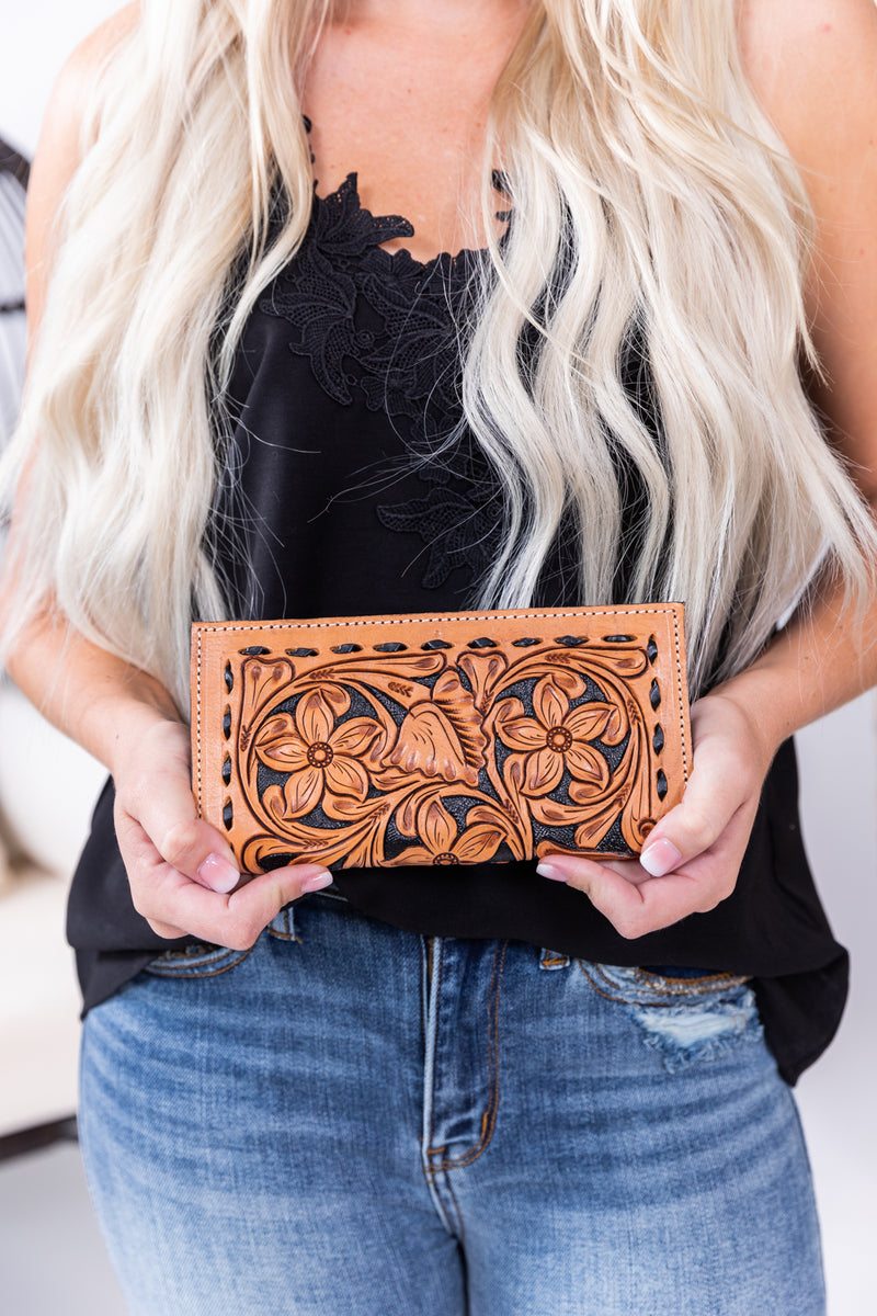 The Betsy Tooled Hide Pocket Wallet