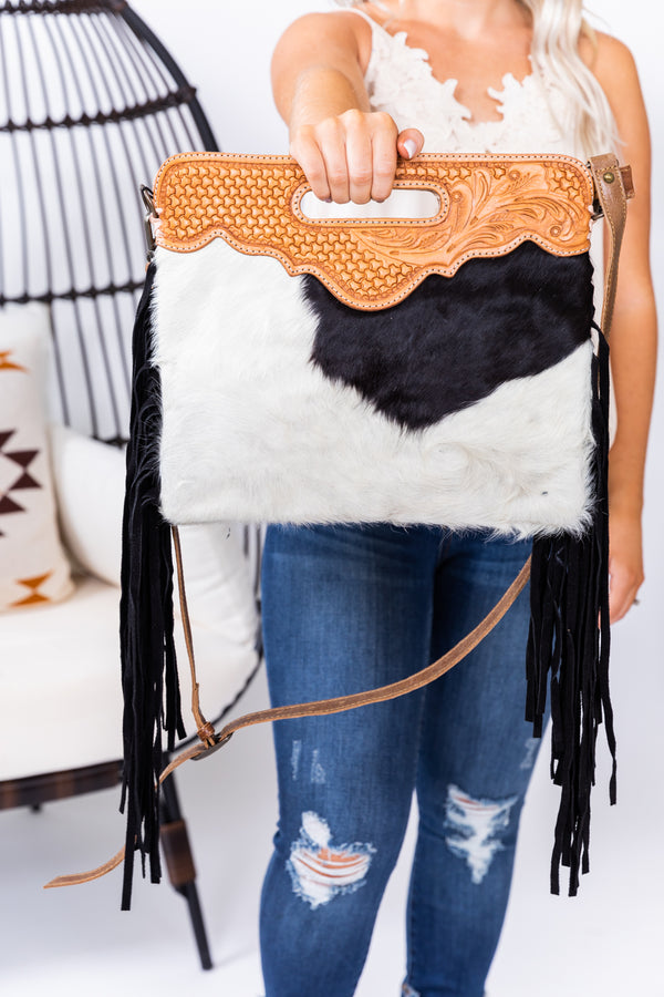 Black Betty Hide Fringe Purse