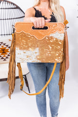 Golden Hour Lightning Hide Leather Fringe Purse