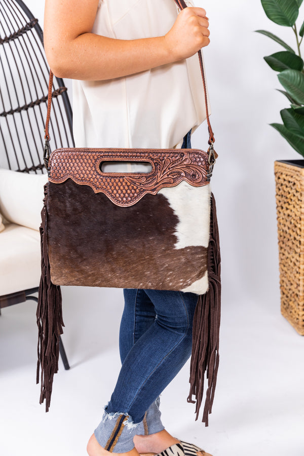Bama Babe Hide Leather Fringe Purse