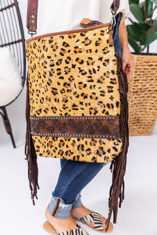 Branded Lola Leopard Hide Fringe Purse