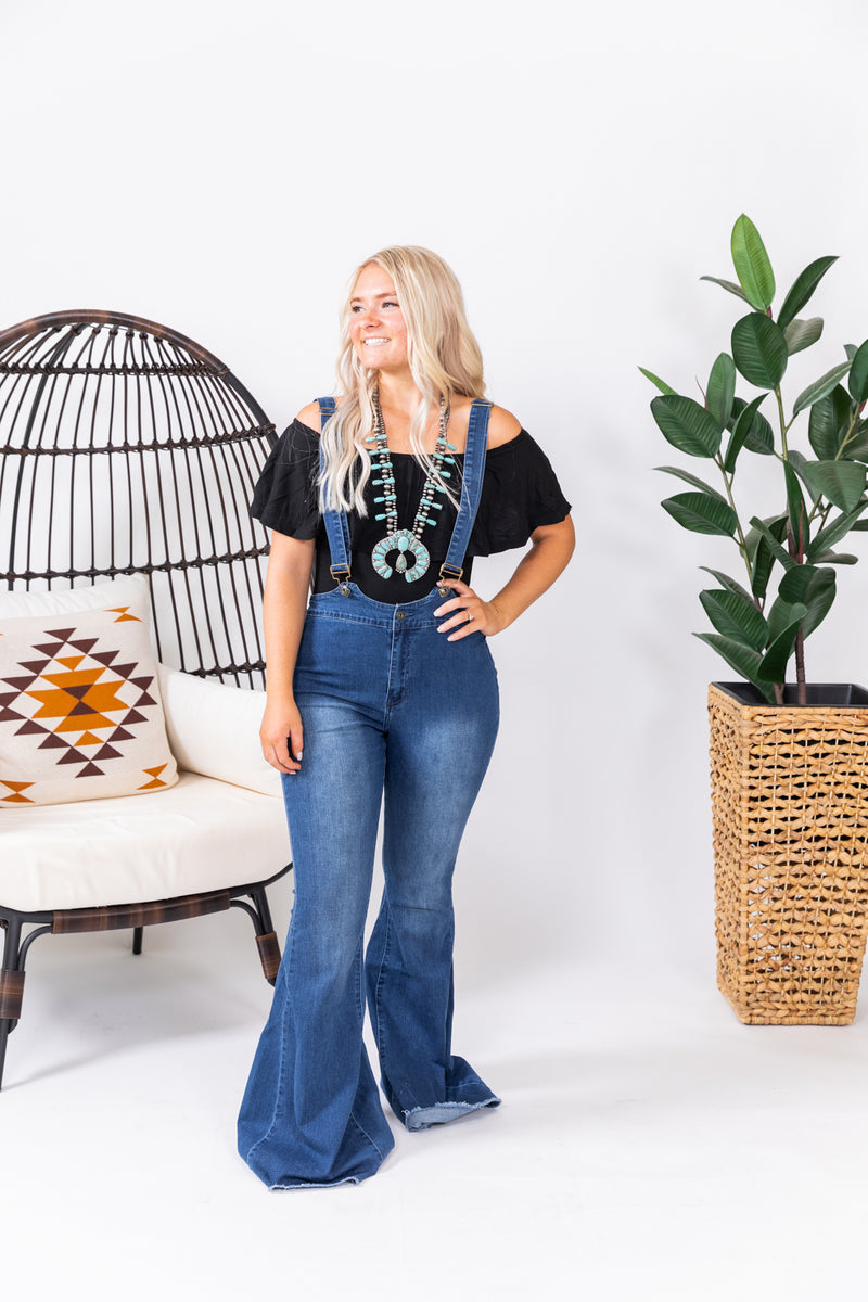 Dark Wash Denim Overall Bell Bottoms