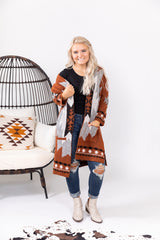 Rust Out West Aztec Cardigan