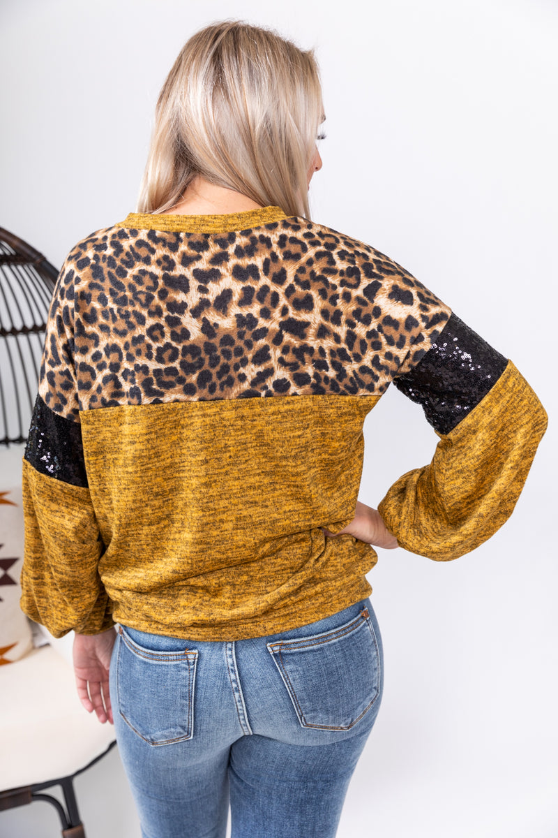 Mustard Glam Long Sleeve Top