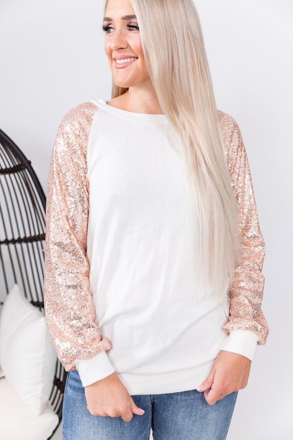Rose Gold Glam Long Sleeve Top
