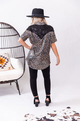Midnight Leopard Queen Pearl Snap Top
