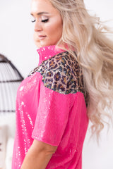 Neon Pink Leopard Queen Pearl Snap Top