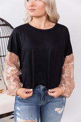 Rose Gold Diva Bubble Sleeve Top