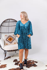 Shades Of Blue Velvet Mini Dress