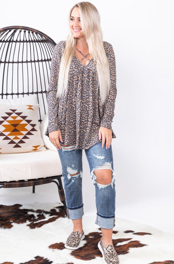 Mocha Fall For You Leopard Baby Doll Top