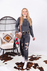 The Loretta Charcoal Fringe Long Sleeve Top