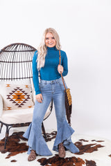 Light Wash Betty Ruffle Denim Flares