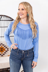 The Loretta Blue Bird Fringe Long Sleeve Top
