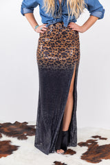 7 Summers Ombre Leopard Sequin Maxi Skirt