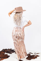 7 Summers Rose Gold Sequin Maxi Skirt