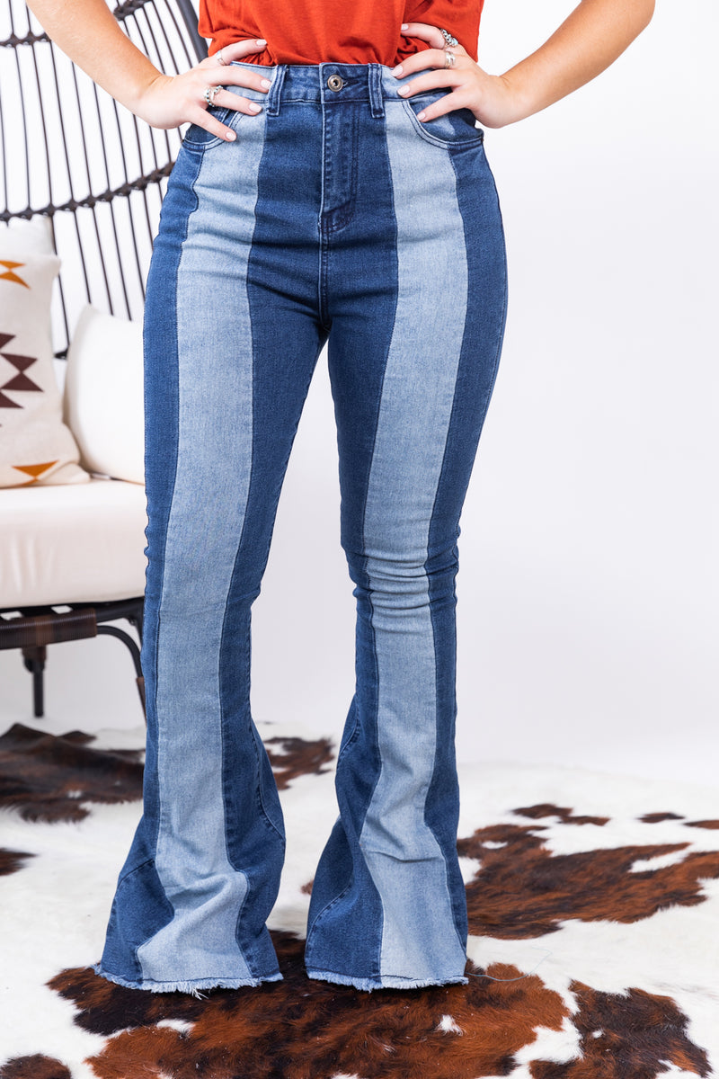 Two Tone Denim Bell Bottoms