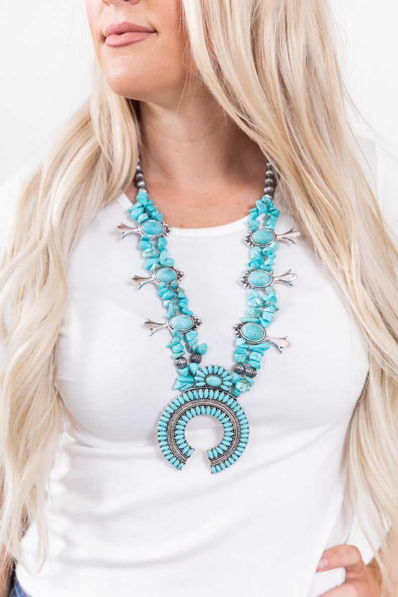 Turquoise Stoned Squash Necklace