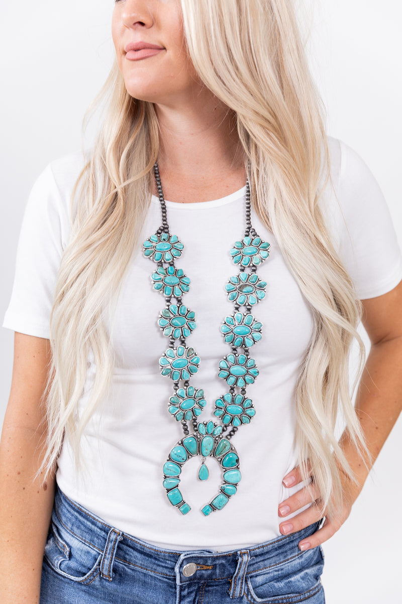 Desperado Turquoise Squash Blossom Necklace