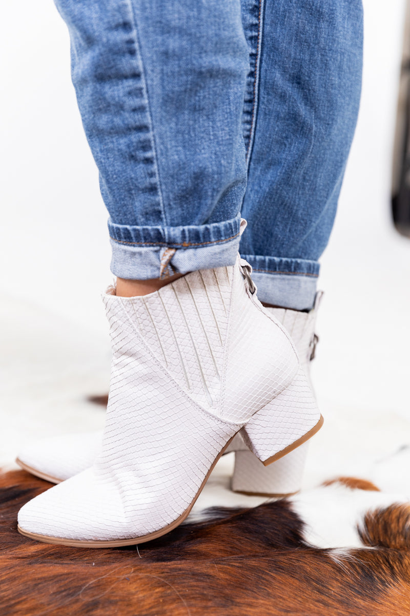 The Loretta White Bootie