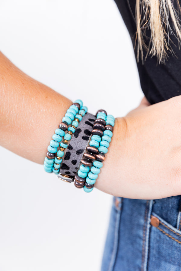 Turquoise And Leopard Obsessed Stackable Bracelet Set