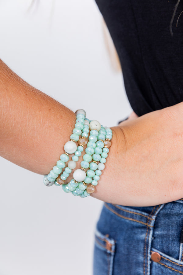 Sea Foam Green Stackable Bracelet Set