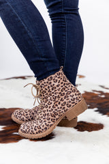 On The Prowl Leopard Lace Up Booties