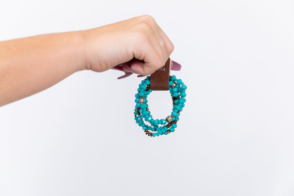 Turquoise + Copper Beaded Bracelet Set
